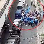 Meeting by Napoli and Juventus Fans in an Alley for a Group Hug