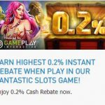 Promotional Update: 0.2% Instant Rebate When You Play Slots at W88